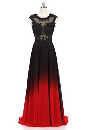 XIA Womens Gradient Color Beaded Prom Dresses Chiffon Evening Ball Gown Long Plus Size Red 2