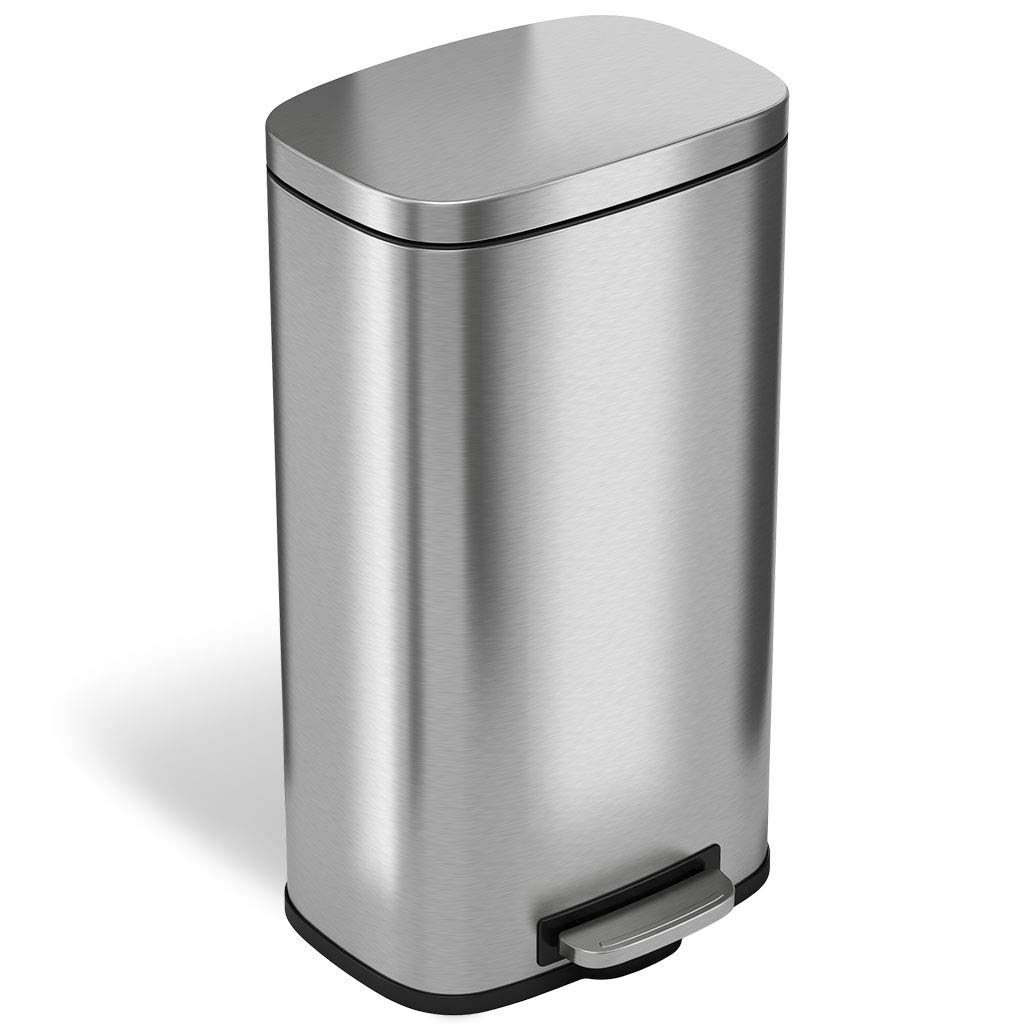 Stainless Steel Kitchen Garbage Can: ITouchless SoftStep 8 Gallon Stainless Steel Step Trash