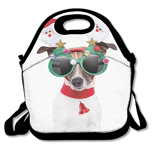 JingleBoo Funny Puppy Jack Russel Dog With Hilarious Sunglasses Santa Lunch Tote Bag For Men Women - Sunglass Coupons World