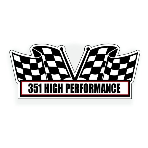 Solar Graphics USA Air Cleaner Engine Decal - 351 High Performance for V8 Pro Street, Drag Race, Classic Muscle Car, Compatible with Ford Cleveland Windsor - 5 x 2.25 inch Drag Race Pro Street