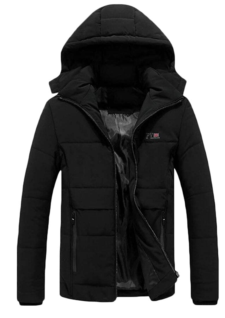WSPLYSPJY Mens Hooded Jacket Outdoor Down Jacket with Removable Hood