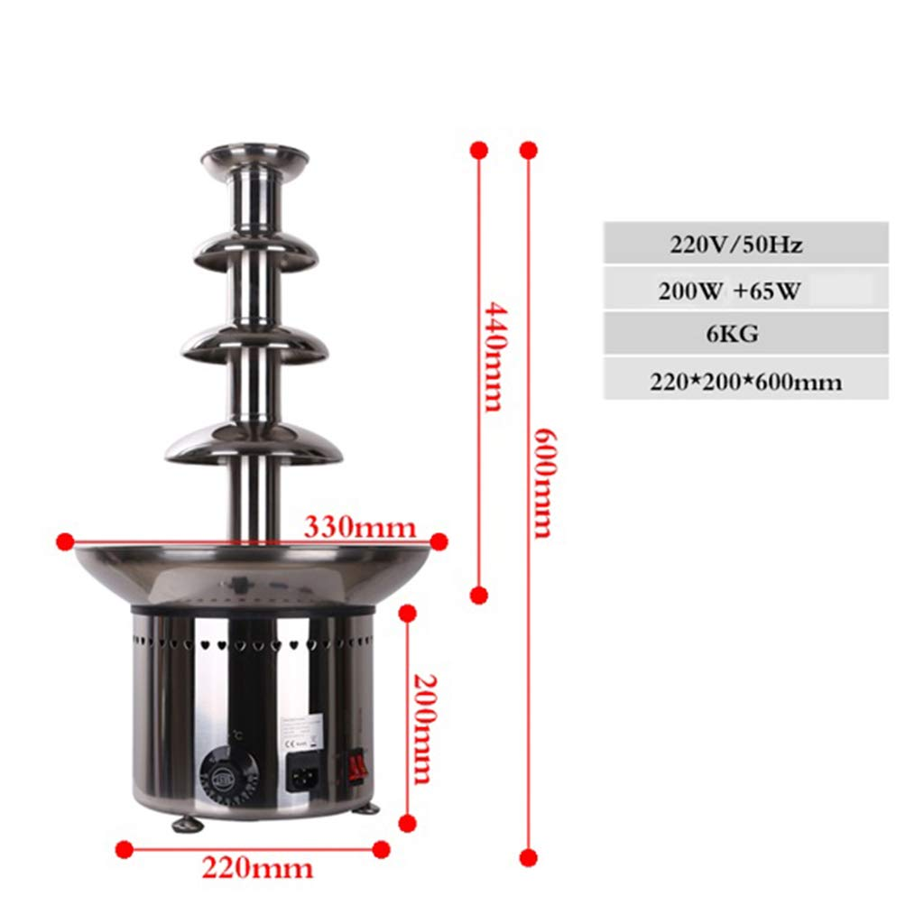 Socean Commercial chocolate fountain, waterfall machine five-layer spray tower automatic temperature control stainless steel kettle fountain waterfall. by Chocolate Fountain (Image #7)