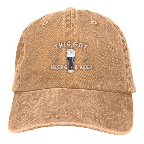 This Guy Needs a Beer 3D Creative Personality Washed Denim Hats Autumn Summer Men Golf Sunblock Hockey Caps ()