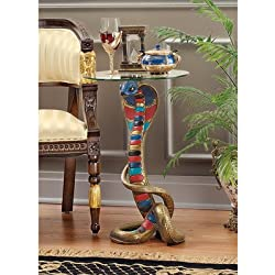 Design Toscano Renenutet Egyptian Cobra Goddess Glass Topped Table