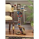 Design Toscano Renenutet Egyptian Cobra Goddess Glass Topped Table