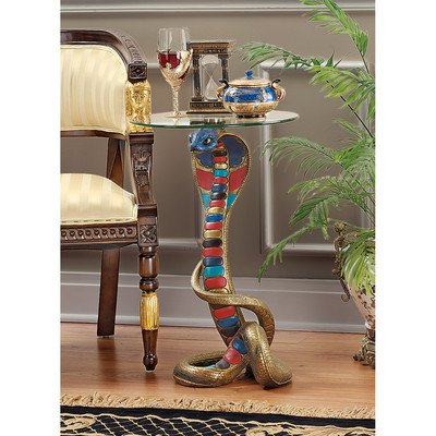 - Design Toscano Renenutet Egyptian Cobra Goddess Glass Topped Table