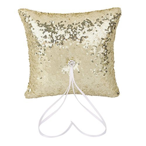 Gold Ring Bearer Pillow - ULTNICE 20*20cm Sparkling Wedding Bridal Ring Sequins Bearer Pillow (Gold)