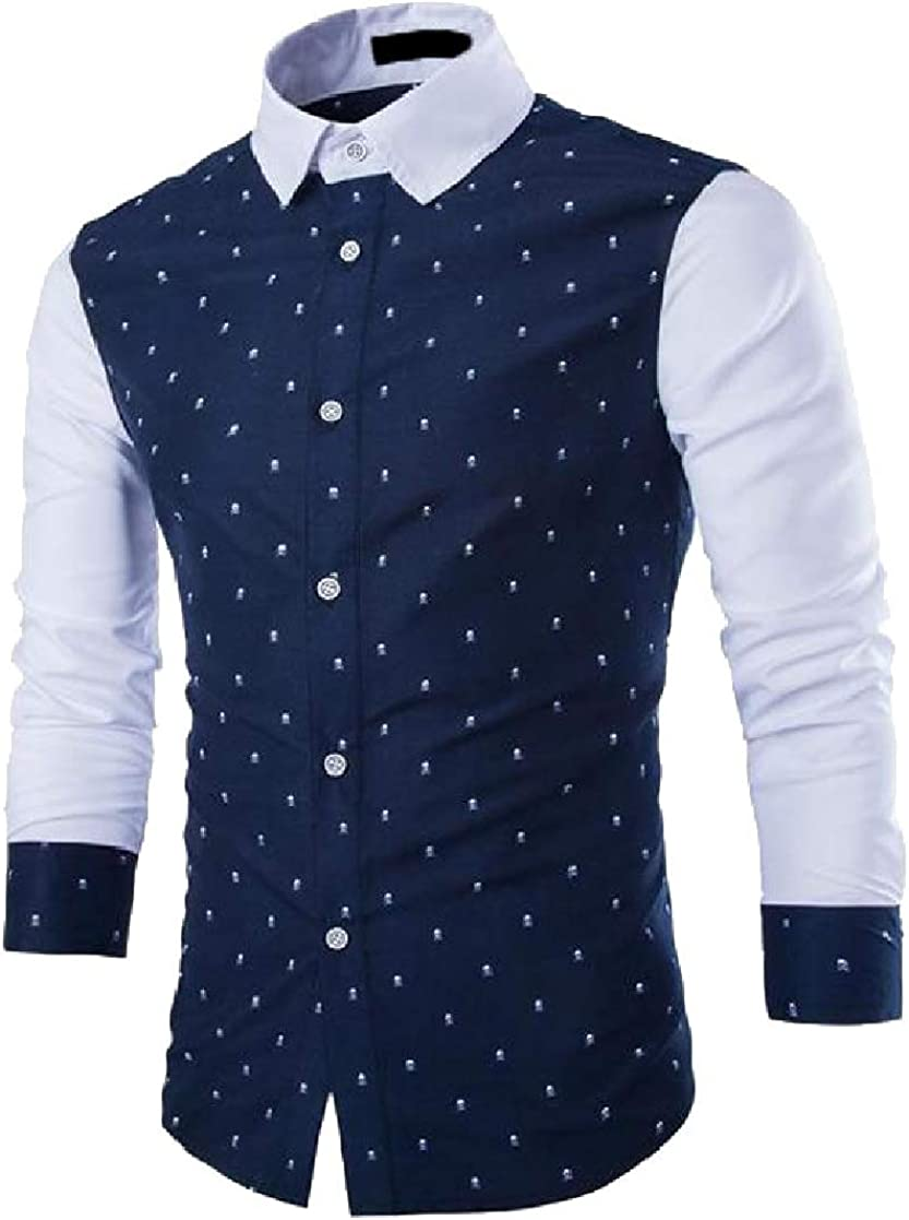 Macondoo Mens Printed Color Block Button Front Long Sleeve Slim Fit Shirts