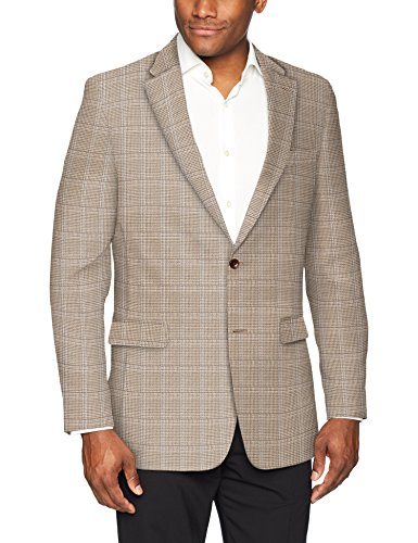 (Tommy Hilfiger Men's Modern Fit Stretch Blazer, Brown/tan Houndstooth Check, 40 Long)