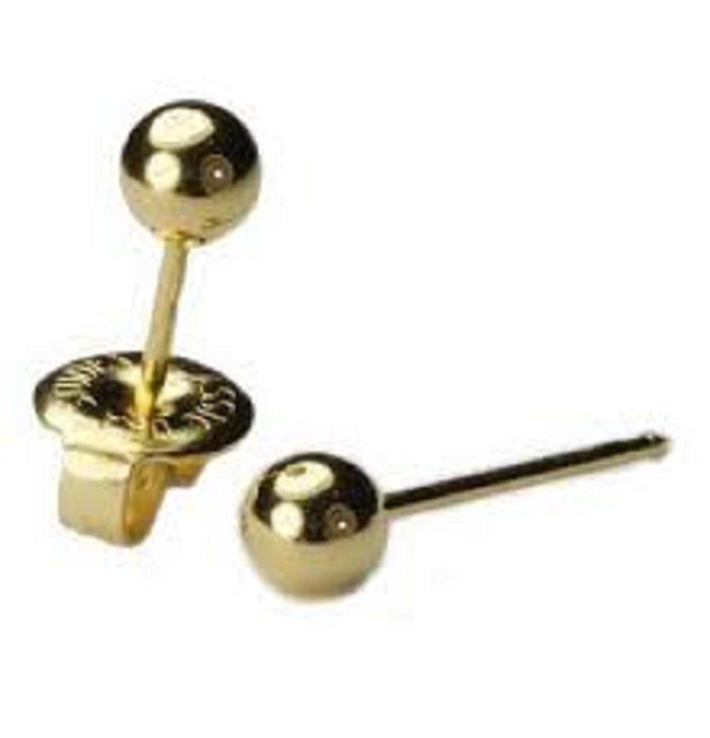 System 75 Studex SHORT POST 14K gold 3mm gold ball ear piercing stud 7514-3085-23