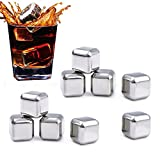 Whiskey Stones,FOME Set of 9 Stainless Steel Whiskey Stones Gift Set Reusable Whiskey Ice Cubes Whiskey Rocks Set Whiskey Chilling Stones for Whiskey Wine Beer Coffee Juice Beverage