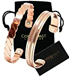 2 Handmade Copper Bracelets for Men and Women-Arthritis Therapy Magnetic Bracelets with 2 Powerful Magnets-Effective & Natural Relief for Joint Pain and Arthritis -Set of 2 (Twisted+Inlay)