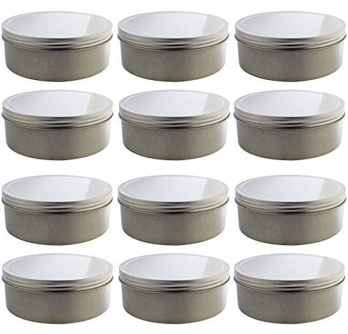 16 oz Silver Shallow Low Profile Metal Tin Containers with Screw Top Twist Lids (12 Pack)