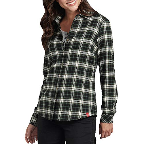 Dickies Women's Long-Sleeve Plaid Flannel Shirt, White/Black/Tiger Eye, L