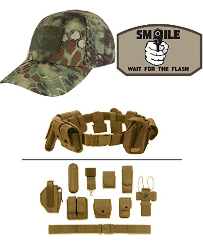 Cap Kryptek Mandrake + SMILE FOR FLASH KHAKI + Tan Duty Belt (Mandrake Halloween Costume)