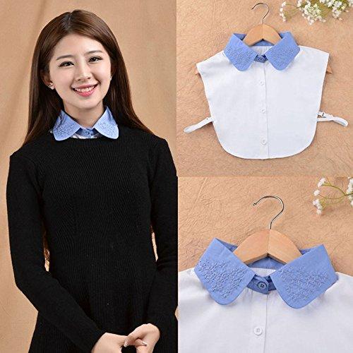 Vococal - Camiseta Mitad Falso de Algodón Surtido Color / Camisa Desmontable Lazo de Blusa Cuello Falso con Venda Banda Elástica Busto para Mujer Azul