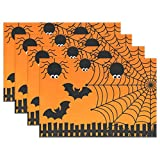 fine rectangular glass patio table Halloween Spider Web Set of 1 Placemats Heat-Resistant Table Mat Washable Stain Resistant Anti-Skid Polyester Place Mats for Kitchen Dining Decoration