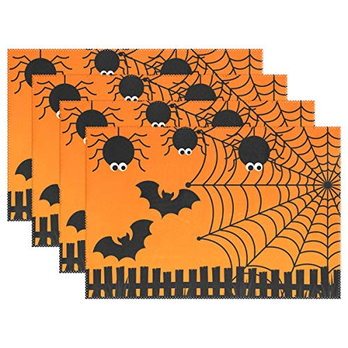 Halloween Spider Web Set of 1 Placemats Heat-Resistant Table Mat Washable Stain Resistant Anti-Skid Polyester Place Mats for Kitchen Dining Decoration ()