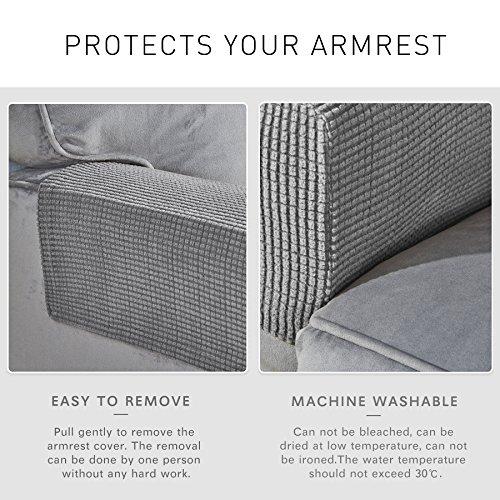 CHUN YI Set of 2 Stretch Polyester Spandex Fabric Jacquard Armrest Cover (Light Gray) by CHUN YI (Image #2)