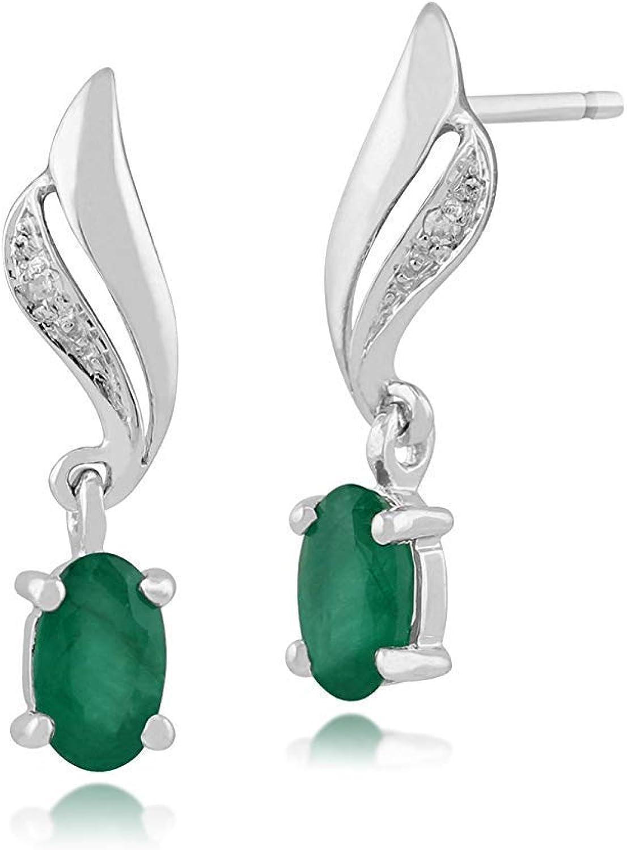 Gemondo de Mujer 375 Oro 9CT Oro Blanco Ovalado Esmeralda & Diamante Espiral Pendientes Verde