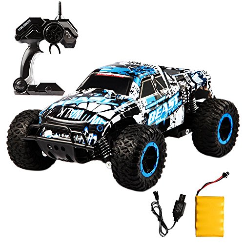 RC Car Off Road Truck Electric High Speed Vehicle with 2.4GHz 4CH 1:16 Buggy Remote Control Race Monster, Rechargeable Race Rock Crawler Racing Car(Blue) (Road Buggy Gas Off)