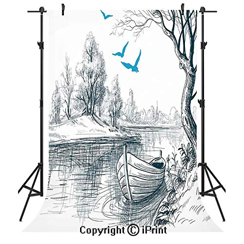 Lake House Decor Photography Backdrops,Boat on Calm River Trees Birds Twigs Sketch Drawing Clipart Water Minimalistic,Birthday Party Seamless Photo Studio Booth Background Banner 5x7ft,White Gray Blu