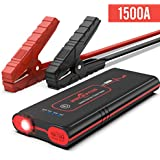 Rockpals Portable UltraSafe 1500 Amp 12V Jump Starter,Up to 8.0L Gas, 6.0L Diesel Engines, with Smart Battery Clamps,USB & Type-C port Power Bank and LED Flashlight