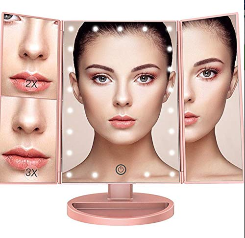 Liuy Makeup Mirror 22 Led Vanity Mirror with Lights, 1x 2x 3x Magnification, Touch Screen Switch, 180 Degree Rotation, Dual Power Supply, Portable Trifold Makeup Mirror Pink