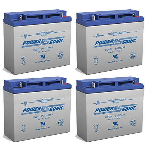 Powersonic 12V 18AH Battery Replaces Merits S235 Mini-Coupe Scooter - 4 Pack
