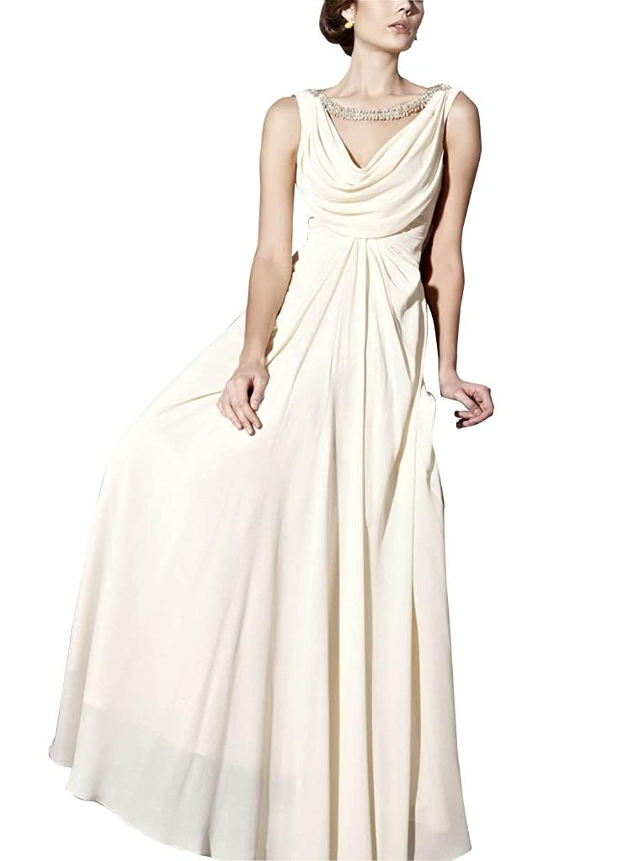 GEORGE BRIDE Column V Neck Floor Length Chiffon Evening Dress With Beaded Appliques