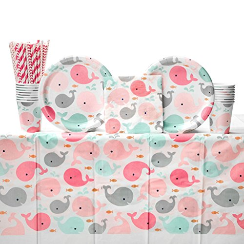 Shower Plates Luncheon (Cedar Crate Market Lil' Spout Pink Girl Baby Shower Party Supplies Pack for 16 Guests: Straws, Dinner Plates, Luncheon Napkins, Table Cover, and Cups)
