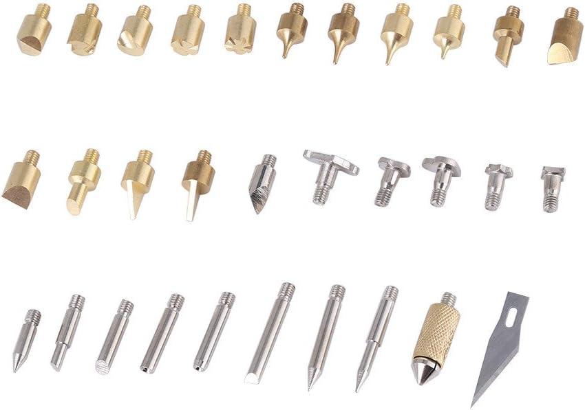 Fiche europ/éenne 30/W 220/V/ 40/morceaux Wood Burning Pen Stylet Eu-Stecker /240/V Po/êle /à bois Set de pyrogravure Outils Conseils Alphabet Chiffres Symboles Patrons