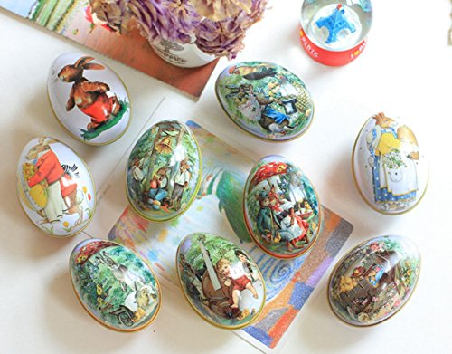 Crazy Night Assorted Metallic Easter Egg Container Different Design Wedding Supplies Painting Print Candy Packaging Box Tin Easter Day Eggs Random Color (12)