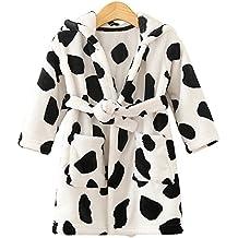 Ferryman Coral Fleece Hooded Baby Bathrobe Nightgown - Cow