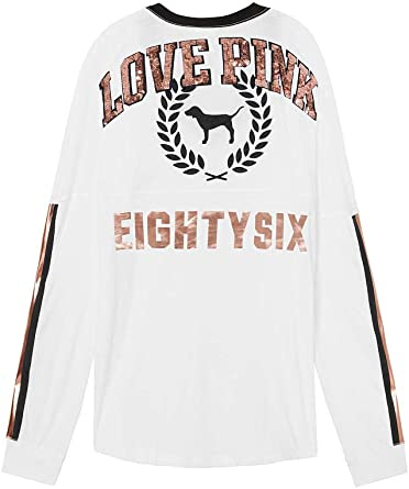 Victoria's Secret PINK Bling Varsity Crew Long Sleeve NEW VS PINK NWT size Large