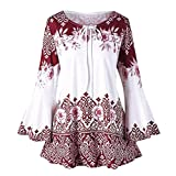 Fiaya Women's Plus Size Floral Flare Sleeve Lace Up Keyhole Tunic Tops Blouses T-Shirts (S, Red)