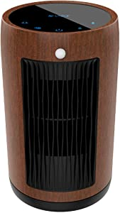 Electric Space Heater 1500W Portable Smar tcontrol,Touch Panel, PIR Motion Sensor, Function 3 Modes with Overheat & Tip-over Shut Off ,Dark Wood Grain Housing