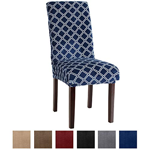 Printed Velvet Plush Dining Chair Slipcovers. Washable Chair Covers. Summerhill Collection Great Bay Home (Set of 4, Dark Denim Blue)
