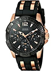 GUESS Mens U0366G3  Sporty Multi-Function Watch on a Comfortable Black Silicone Strap with Rose Gold-Tone Interlinks...