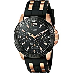 GUESS Men's U0366G3 Sporty Multi-Function Watch on a Comfortable Black Silicone Strap with Rose Gold-Tone Interlinks, Day, Date & 24 Hour International Time Functions
