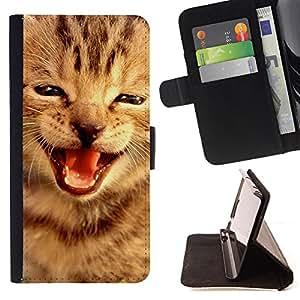 - Kitten Cat Pet Cute - - Prima caja de la PU billetera de cuero con ranuras para tarjetas, efectivo Compartimiento desmontable y correa para la mu?eca FOR HTC M8 One 2 King case