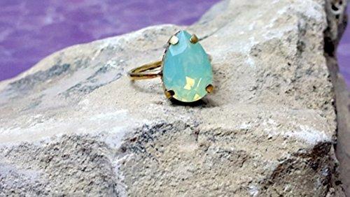 (Teardrop Ring, Pacific Opal Swarovski Ring, Blue Crystal Ring, Opal Ring, Bridal Jewelry, Swarowski Jewelry, Aqua Blue Ring)