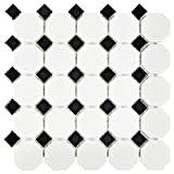 SomerTile FXLM2OWD Retro Octagon Porcelain Floor and Wall...