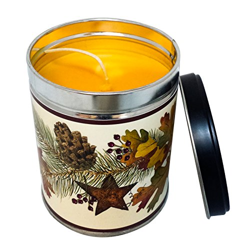 Falling Leaves Scented Candle in 13 Ounce Tin with a Fall Leaves Label By Our Own Candle Company