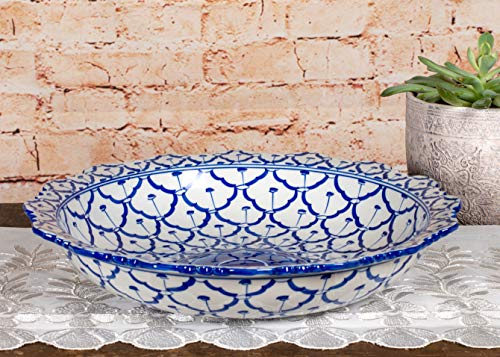 White Porcelain Antique And Blue - Sea Island Imports Elegant Porcelain Serving Bowl with Blue and White Handpainted Pattern and Ruffled Trim