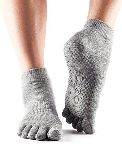 ToeSox Women's Ankle Full Toe Grip Socks (Heather Grey) Medium
