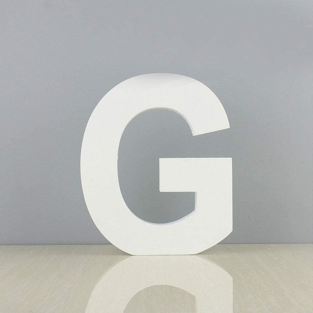 We Moment White Decorative Wood Letters,Hanging Wall 26 Letters Block Wooden Alphabet Letter for Home Bedroom Wedding Brithday Party Decor-Letters (G)