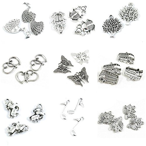 - 28 PCS Jewelry Making Charms Owl Music Musical Note Mouse Rat London Double Deck Bus Butterfly Dual Hearts