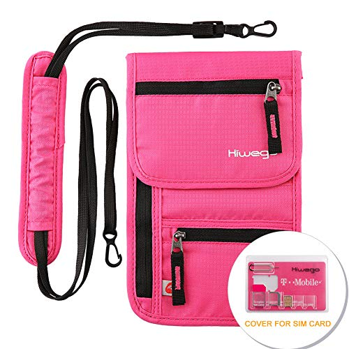 hiwego Roll Over Image to Zoom in Travel Neck Pouch Hidden Passport Holder Wallet RFID Blocking/Neck Stash for Men Women (Rosy)