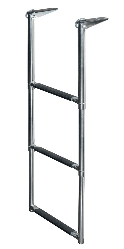 JIF Marine DMX3 Telescoping Drop Stainless Steel Ladder, 3-Step